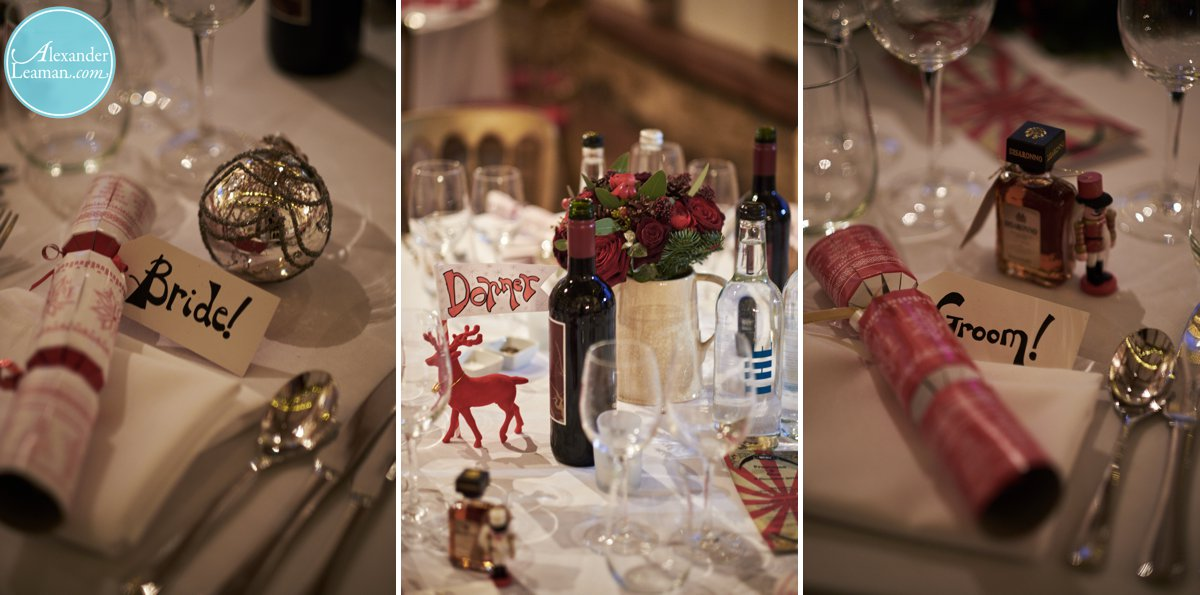 Christmas decorations at a winter wedding